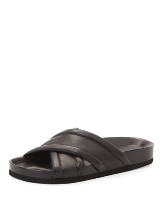 Orson Leather Crisscross Slide, Black