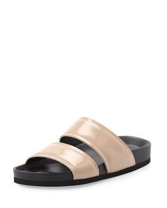 Orion Leather Double-Band Slide, Nude