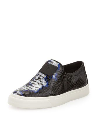 Printed Leather Skate Shoe, Blue