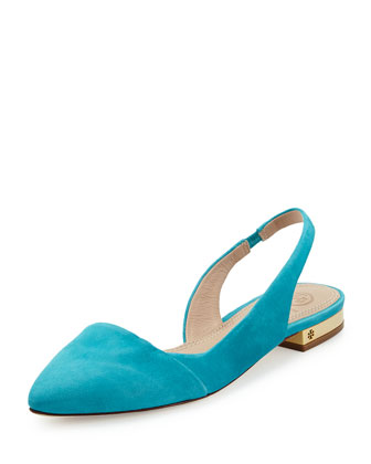 Classic Point-Toe Slingback Flat, Bermuda Tea