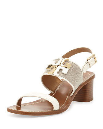 Lowell Logo City Sandal, Natural/Ivory