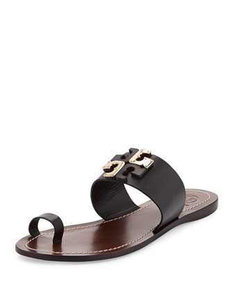 Lowell Leather Logo Slide, Black