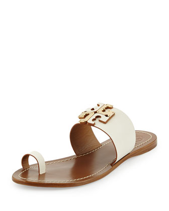 Lowell Leather Logo Sandal, Ivory