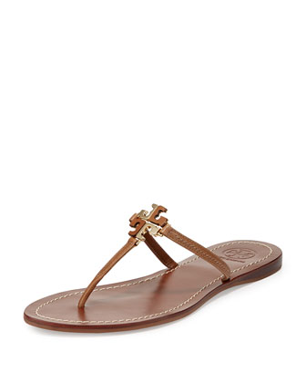Lowell Logo Thong Sandal, Natural Bark