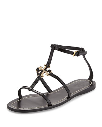 Lowell Logo Flat Thong Sandal, Black