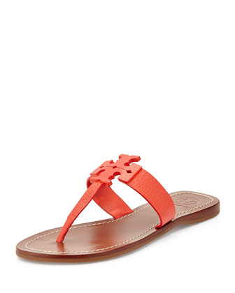 Moore Leather Thong Sandal, Poppy Coral