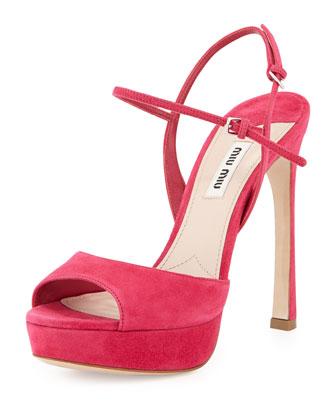 Suede Peep-Toe Sandal, Peonia
