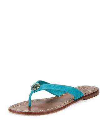 Thora Suede Logo Thong Sandal, Bermuda Teal