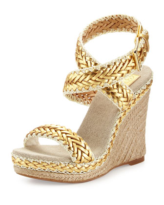 Paloma Woven Metallic Wedge Sandal, Platinum