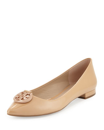 Patent Leather Pointy-Toe Logo Flat, Camelia Pink