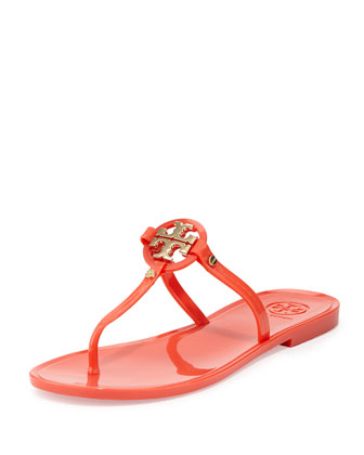 Mini Miller Jelly Thong Sandal, Poppy Coral