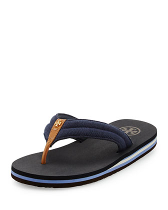 Canvas Striped Flip-Flop, Royal