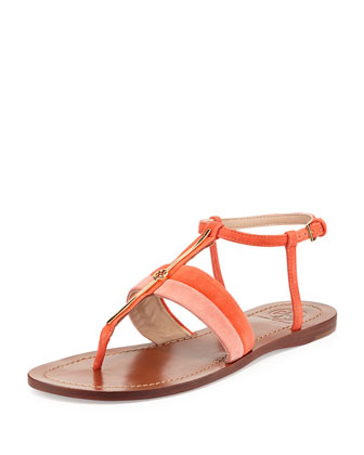 Bar Logo Thong Suede Sandal, Daiquiri/Poppy