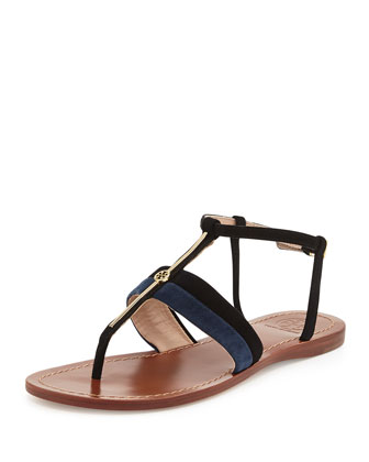 Bar Suede Logo Thong Sandal, Black