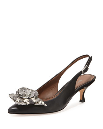 Rizza Flower Slingback Pump, Black