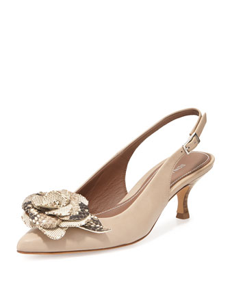 Rizza Flower Slingback Pump, Taupe