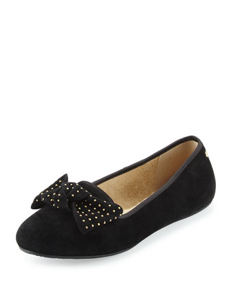 Alloway Stud-Bow Suede Flat, Black