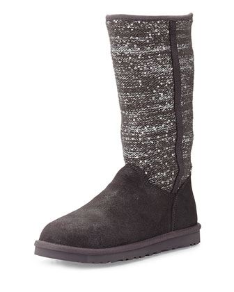 Camaya Metallic Knit Boot, Gray