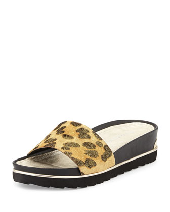 Cava Wedge Slide Sandal, Leopard/Black/Natural