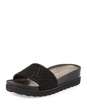 Cava Suede Slide Sandal, Black