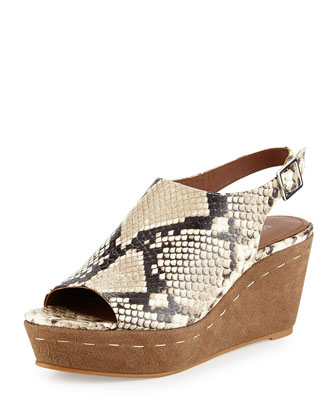Fleur Snake-Embossed Leather Sandal, Taupe