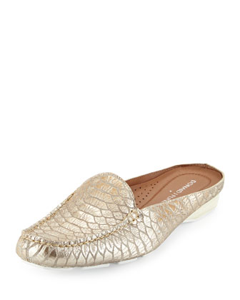 Lovage Metallic Mule Slide, Platino