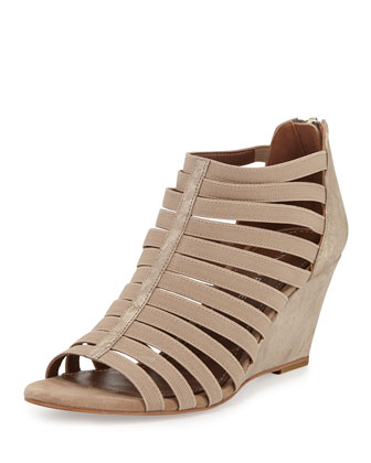 Pelle Strappy Leather Wedge Sandal, Platino
