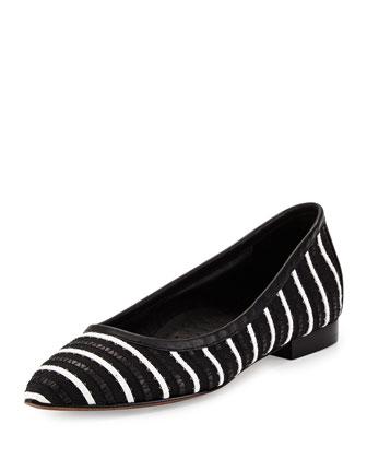 Adore Striped Flat, Black/White