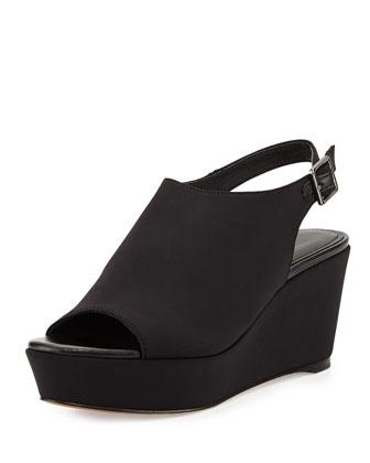 Fleur Crepe Wedge Sandal, Black