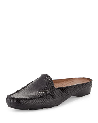 Lovage Snake Mule Slide, Black