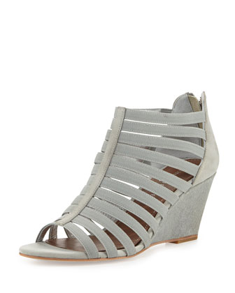 Pelle Strappy Leather Wedge Sandal, Light Gray