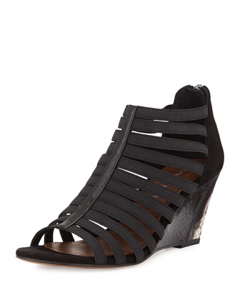 Pelle Strappy Wedge Sandal, Black