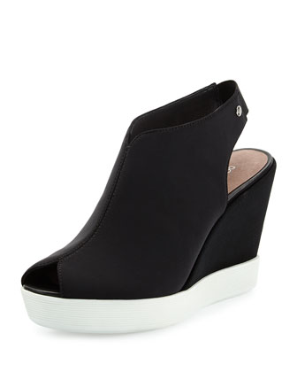 Calypso Crepe Wedge Sandal, Black