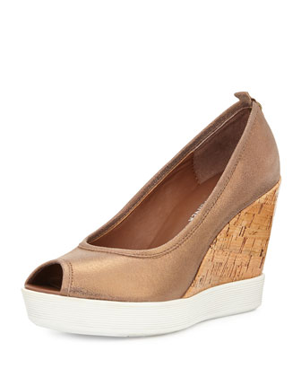 Carli Metallic Wedge Pump, Bronze