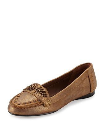Beaded Metallic Loafer, Bronze