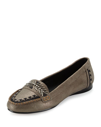 Beaded Metallic Loafer, Pewter