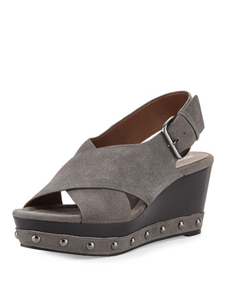 Febe Oiled Suede Wedge Sandal, Gray