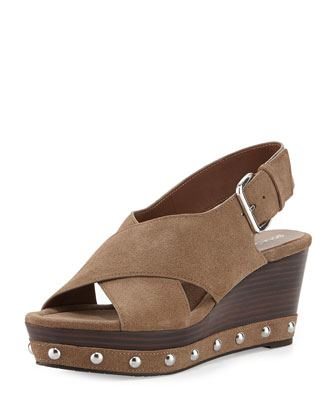 Febe Oiled Suede Wedge Sandal, Light Taupe