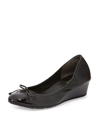 Air Tali Leather Wedge Pump, Black