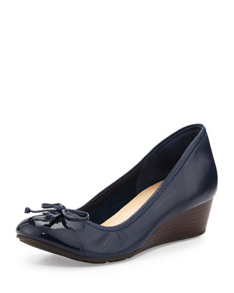 Air Tali Leather Wedge Pump, Blazer Blue