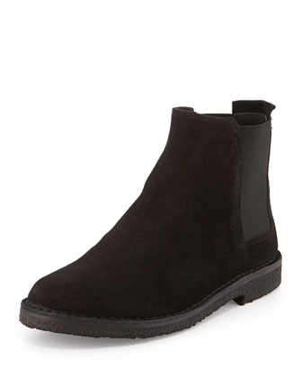 Cody Suede Shearling Fur-Lined Bootie, Black