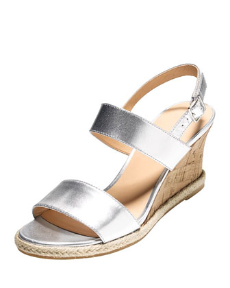 Lane Metallic Wedge Sandal, Argento