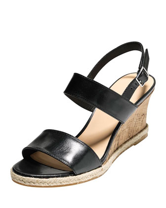 Lane Leather Wedge Sandal, Black