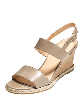 Lane Leather Wedge Sandal, Maple Sugar