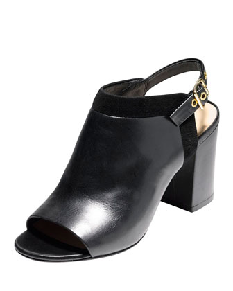 Jena Leather Slingback Bootie, Black