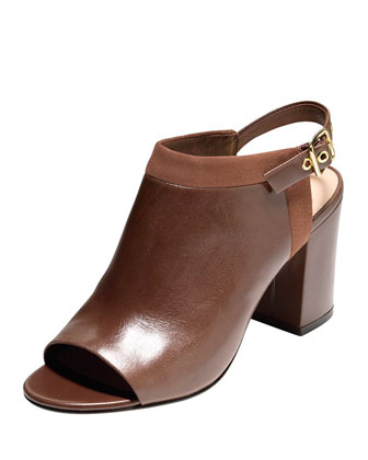 Jena Leather Slingback Bootie, Harvest Brown