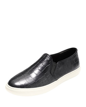 Bowie Croc-Embossed Slip-On Sneaker, Black