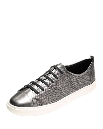 Hendrix Snake-Embossed Leather Sneaker, Gunmetal