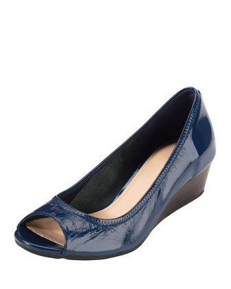 Air Tali Open-Toe Wedge Pump, Blazer Blue