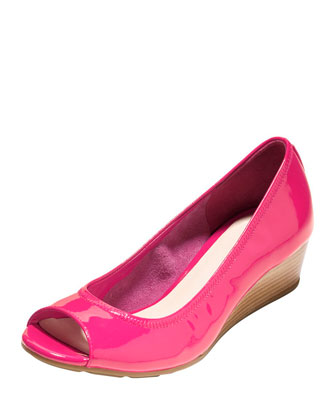 Air Tali Open-Toe Wedge Pump, Electra Pink